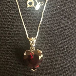 Jewelry - New sterling silver necklace with red heart